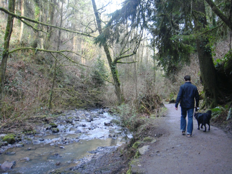 Cooper and Jeff walking along the stream