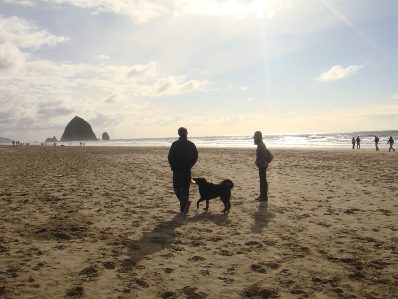 Jeff, Amy & Coop at Cannon Beach