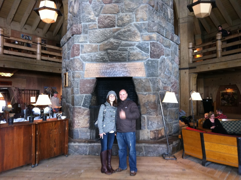 Amy and Rob at Timberline Lodge on Mt. Hood
