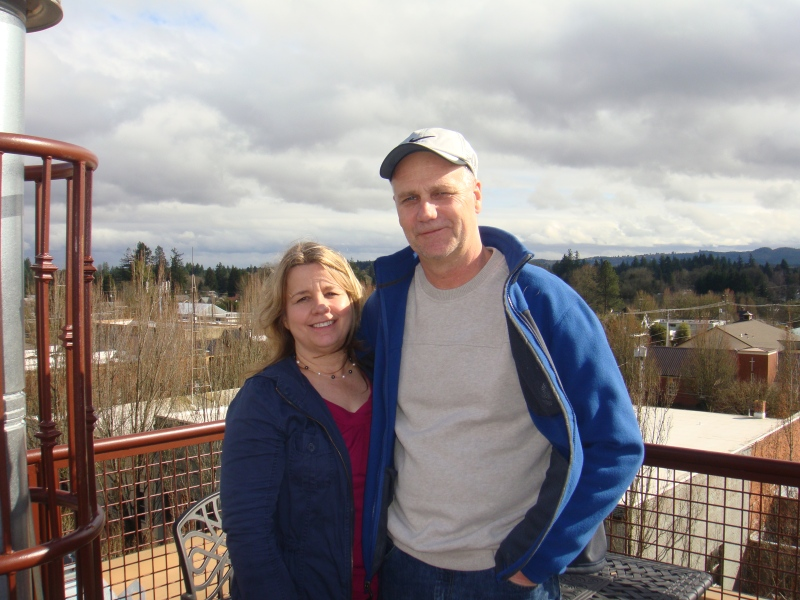My wonderful parents at the top of McMenamins Hotel in McMinnville