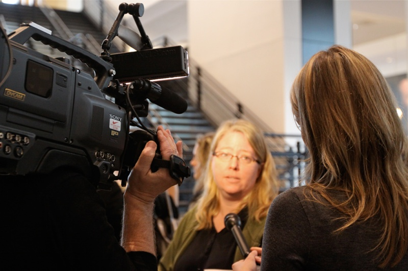 Me interviewing a Bobbi Brown event attendee for a wrap-up video