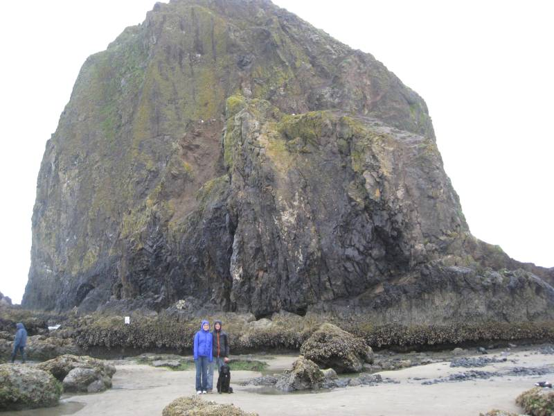 Jeff and me at Haystack Rock at Cannon Beach