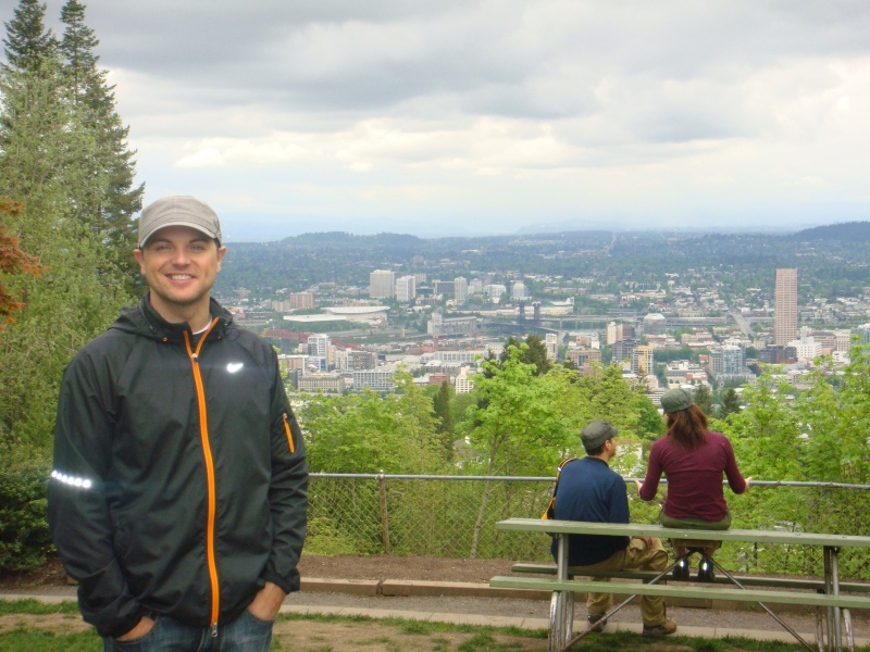 Jeff at the scenic lookout at Pittock Mansion