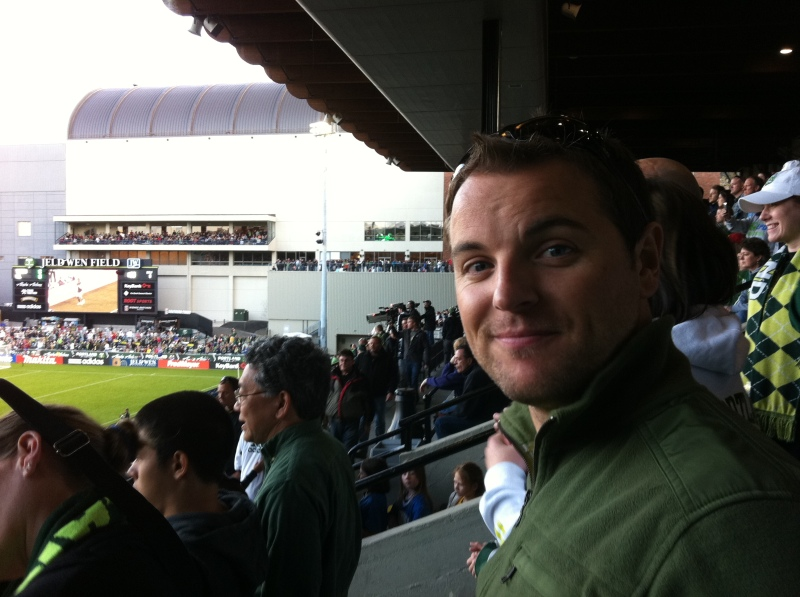 Jeff at the Portland Timbers soccer game
