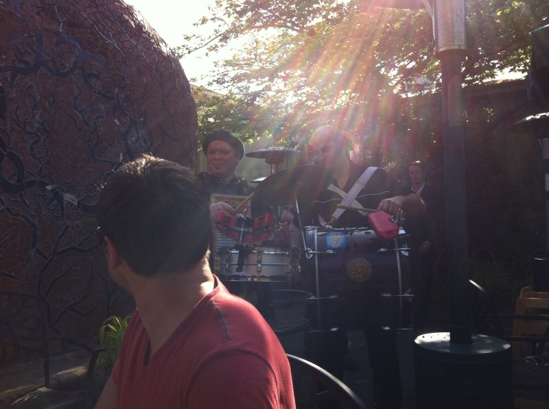 The traveling band in the courtyard of Kennedy School