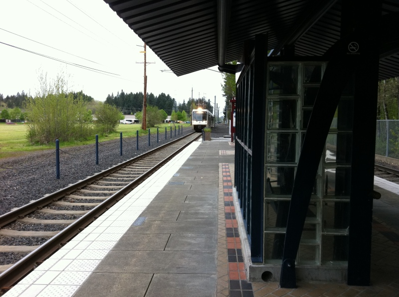 Here comes the MAX train! At the Beaverton Creek station.