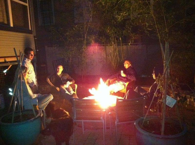 Post-BBQ bonfire out back