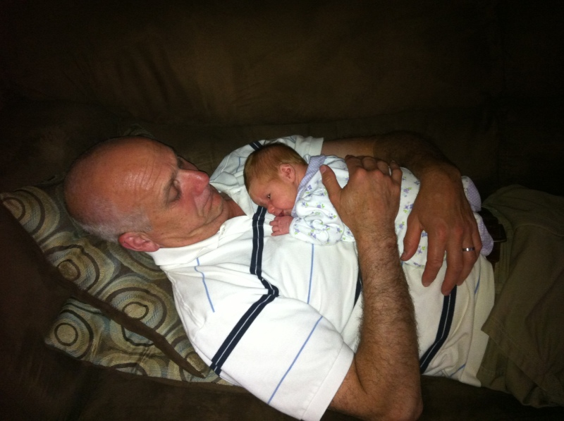 Grandpa and grandbaby (naps run in the Redick family)