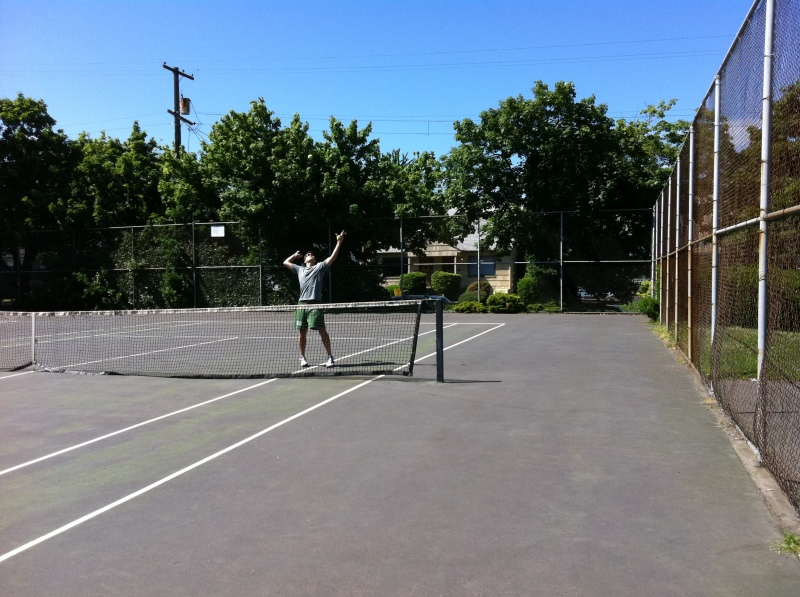 Jeff on the tennis courts at Wallace Park