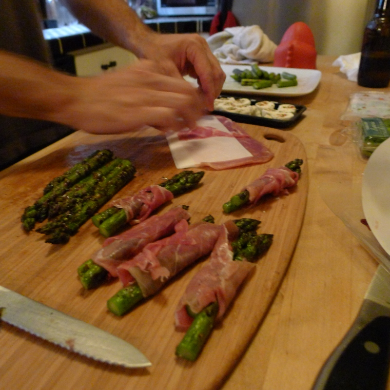 Making the asparagus, prosciutto, goat cheese bruschetta