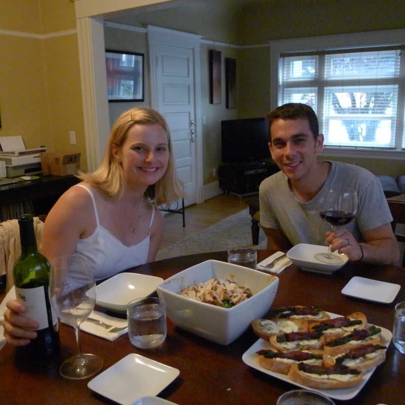 Lindsay and Daniel getting ready to dig in