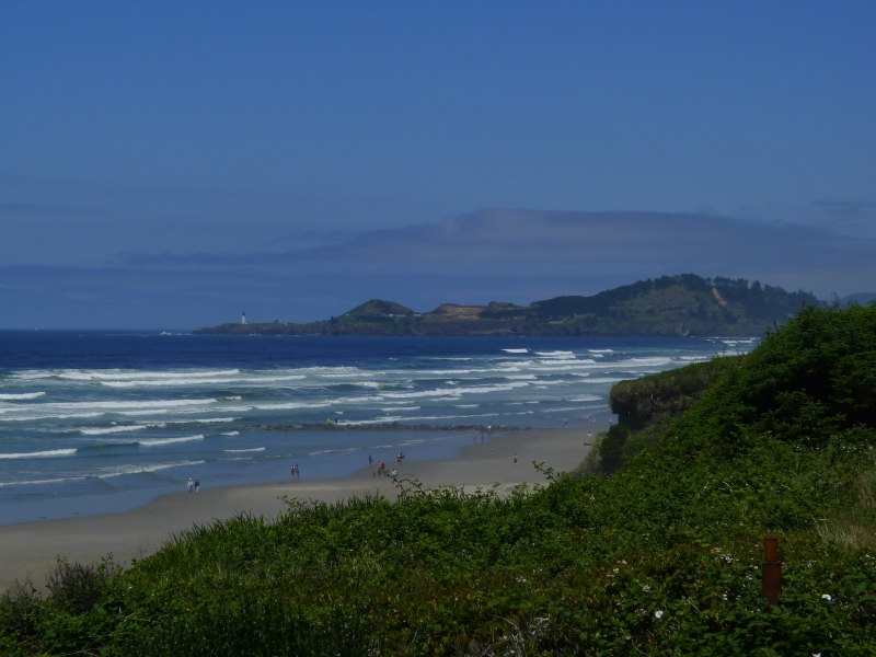 Side view from our hotel window - you can barely see Yaquina Lighthouse