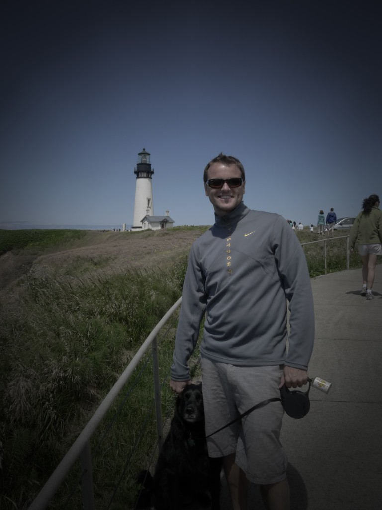 Jeff and Cooper by the Yaquina Lighthouse