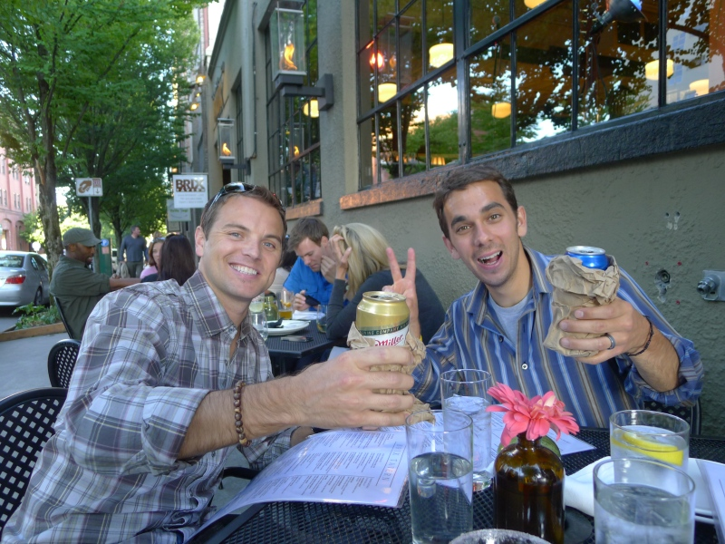 Jeff and Daniel with their first of many paper bag beers