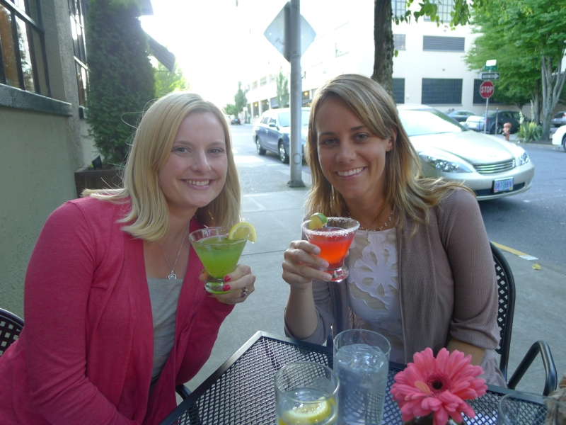 Lindsay and I enjoying our girly drinks before we switched over to the paper bag beers