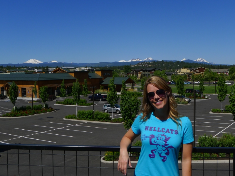 Overlooking the Old Mill District with the Cascades in the background