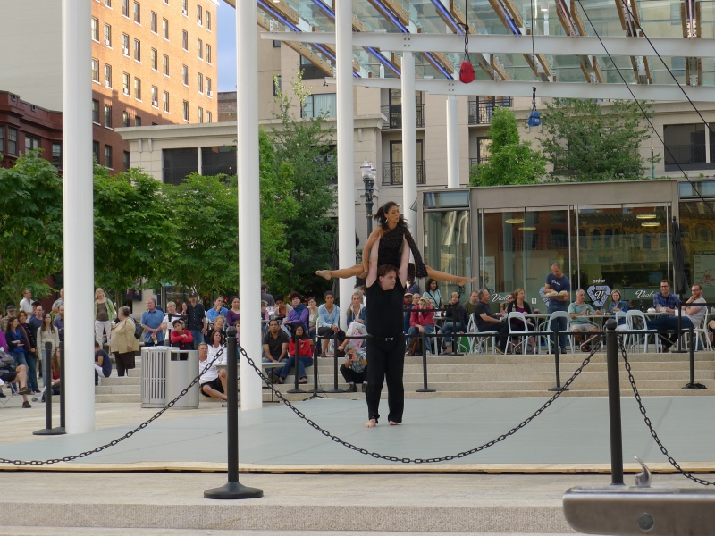 Odd dancing at Director Park downtown