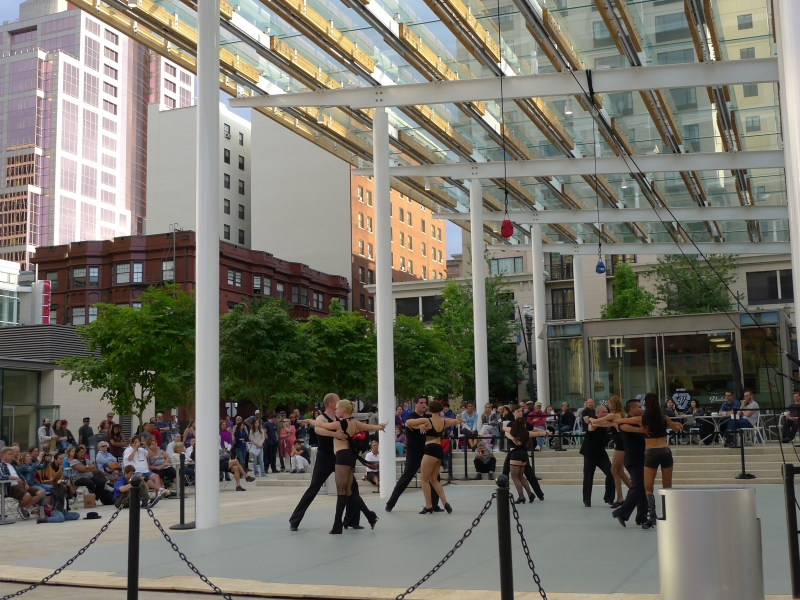 "Dancers jamming to ""He Had It Coming"" (from Chicago) in Director Park"