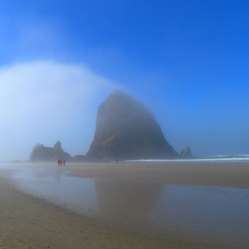 The mist rolling in at Cannon Beach