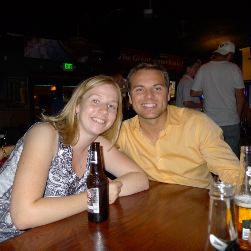 Lori and Jeff chilling at Silver Dollar Pizza Sportsbar