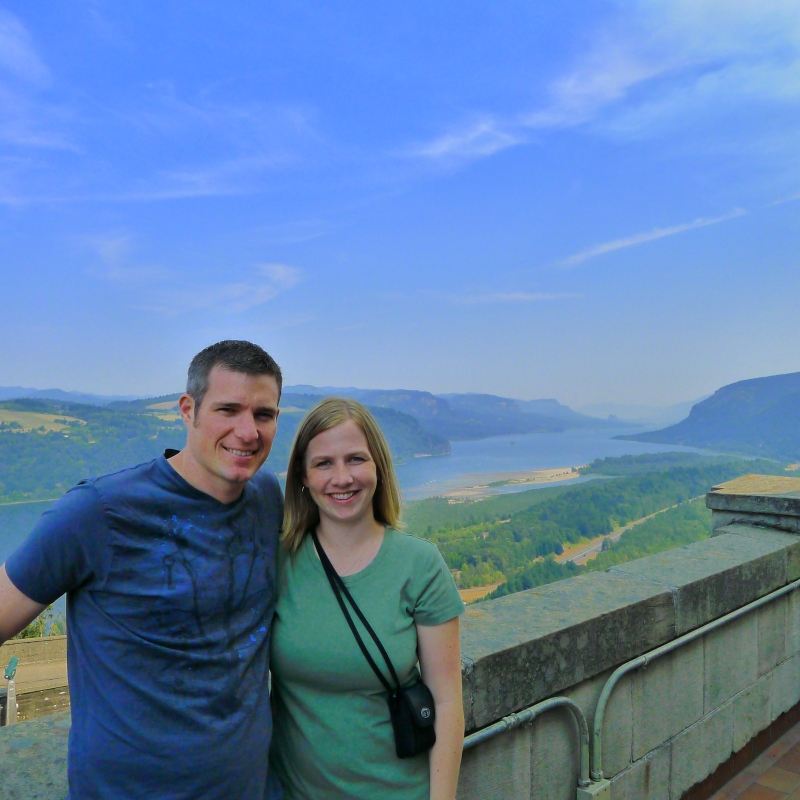 Cory and Lori and the beautiful views from the Crown Point Vista House