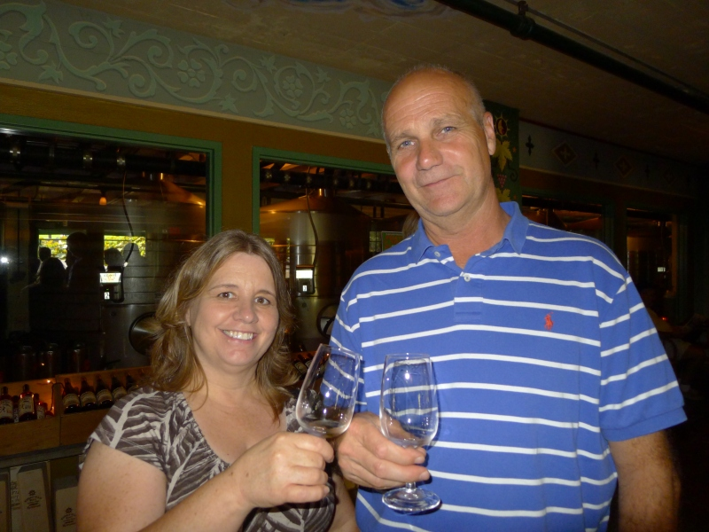 Mom and Dad tasting the McMenamins wines in the tasting room
