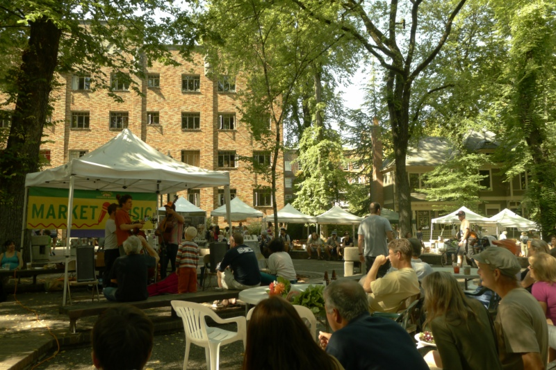 "The ""main stage"" at the Portland Farmer's Market"