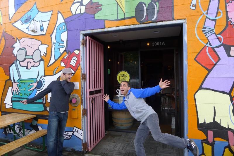 Jeff and Daniel hamming it up outside Lompoc Sidebar