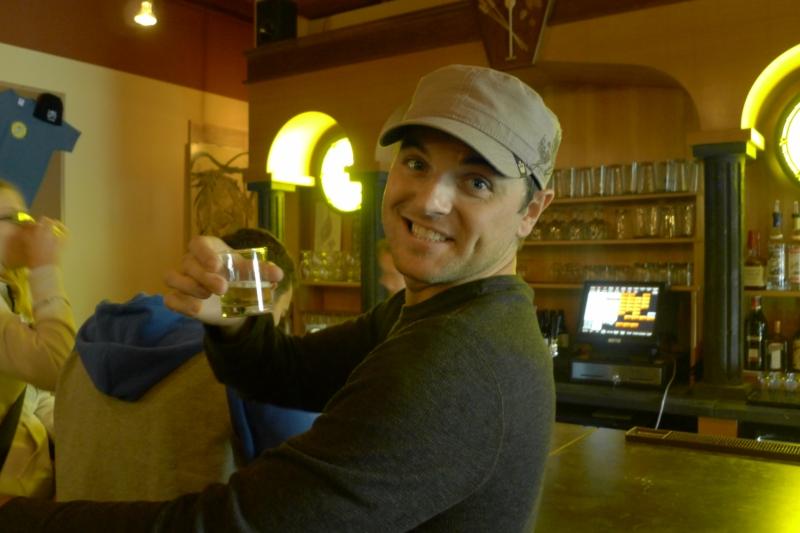 Taste-testing a brew at Lompoc Sidebar