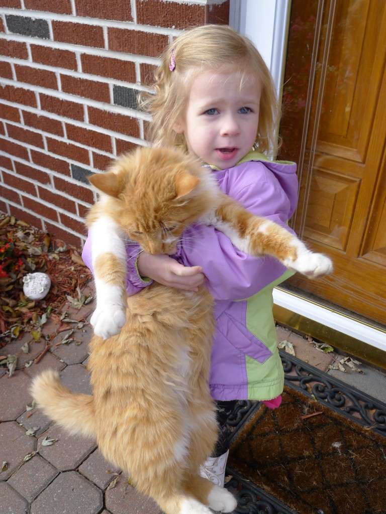 Ava and her kitty Oliver (who actually lives at my parents' place)