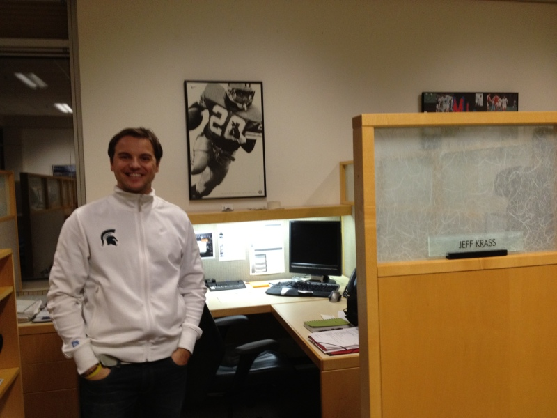 Jeff's cube at Nike! (Notice the excellent Barry Sanders picture he snagged.)