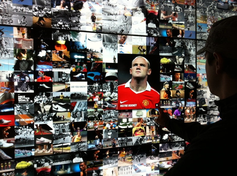 Jeff playing with the Bowerman wall in the new Nike Portland store