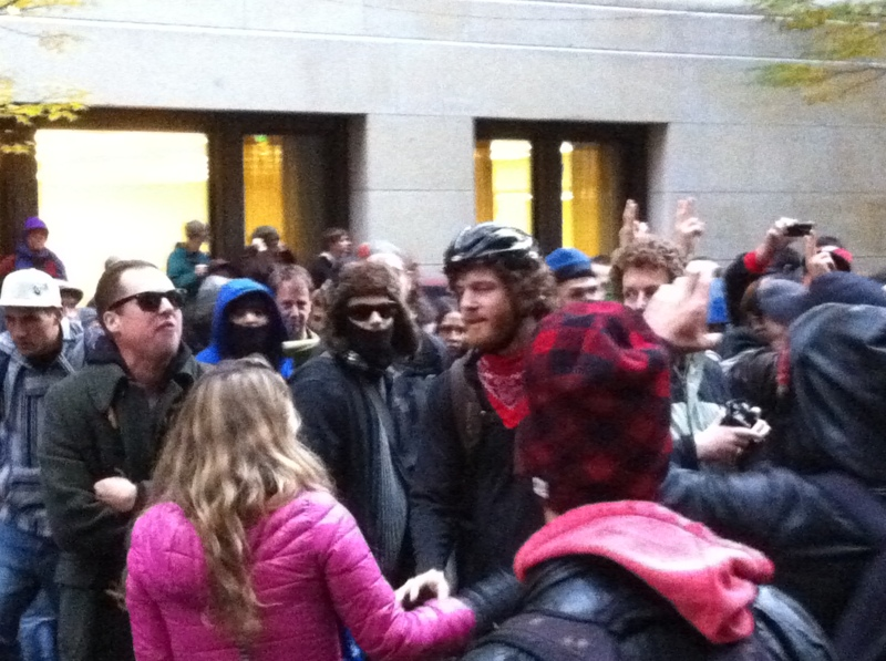 "Guy in the glasses starting some trouble (""I'm an entrepreneur!"") at Occupy Portland"