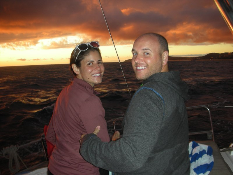 Amy and Rob enjoying the sunset portion of our sail