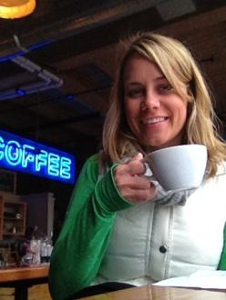 Enjoying my cup of chai tea at Water Avenue Coffee