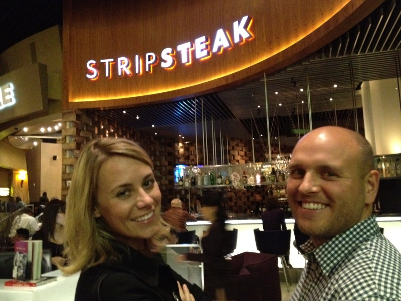 Getting ready for a stellar dinner at Strip Steak