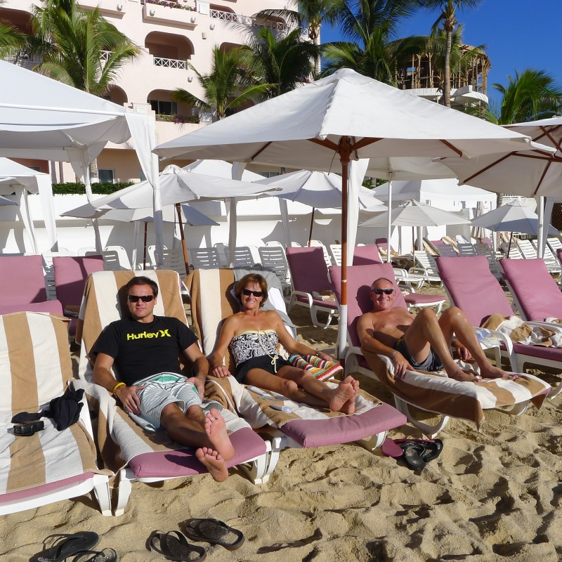 Relaxing in front of our hotel at the beach