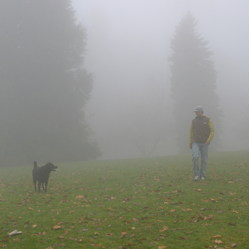 Playing with Coop at foggy Council Crest