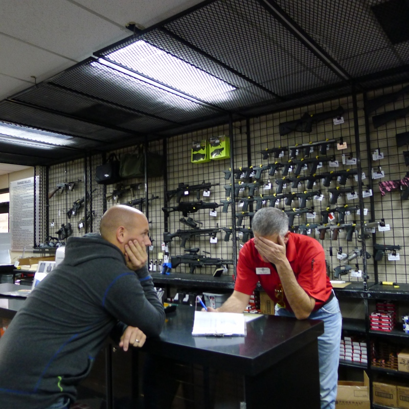 Rob picking out our weapon at American Shooters