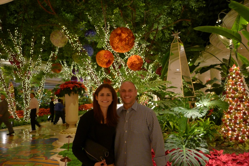 Posing near the Wynn's crazy flower forest before dinner