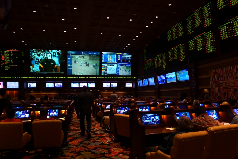 The Wynn's Sports Book - where we caught the first half of the Lions' game