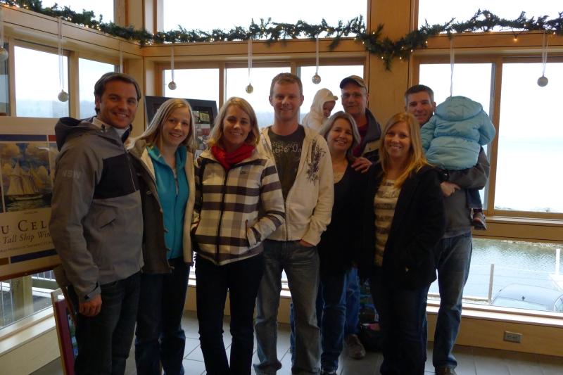 The whole Redick clan at Leelanau Cellars on Lake Michigan