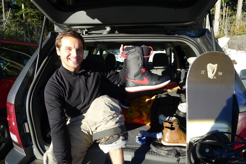 Jeff showing off his new boots at Skibowl