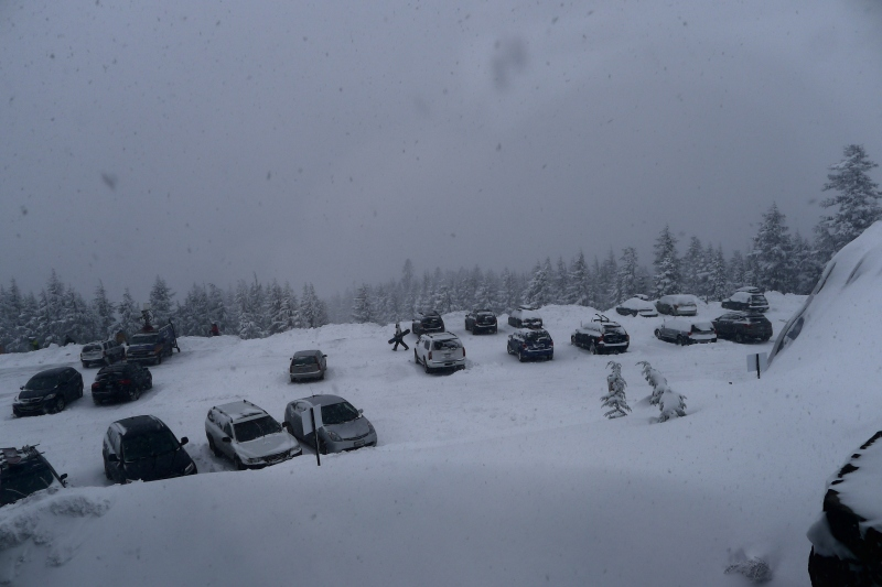 Wintery wonderland outside the Timberline Lodge