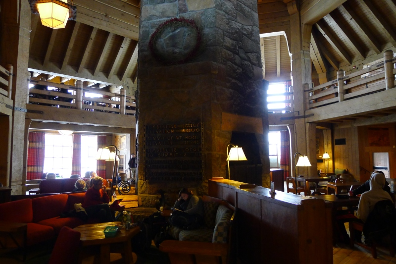 The view from my cozy spot in Timberline Lodge