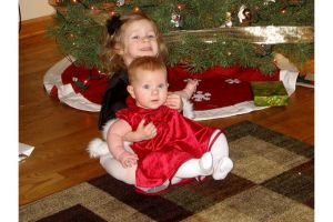 My two little nieces, all dolled up for Christmas