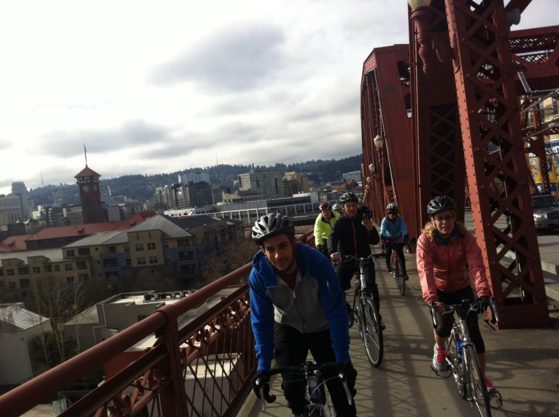 A great day for a ride! Daniel, Jeff and I heading over the Broadway Bridge