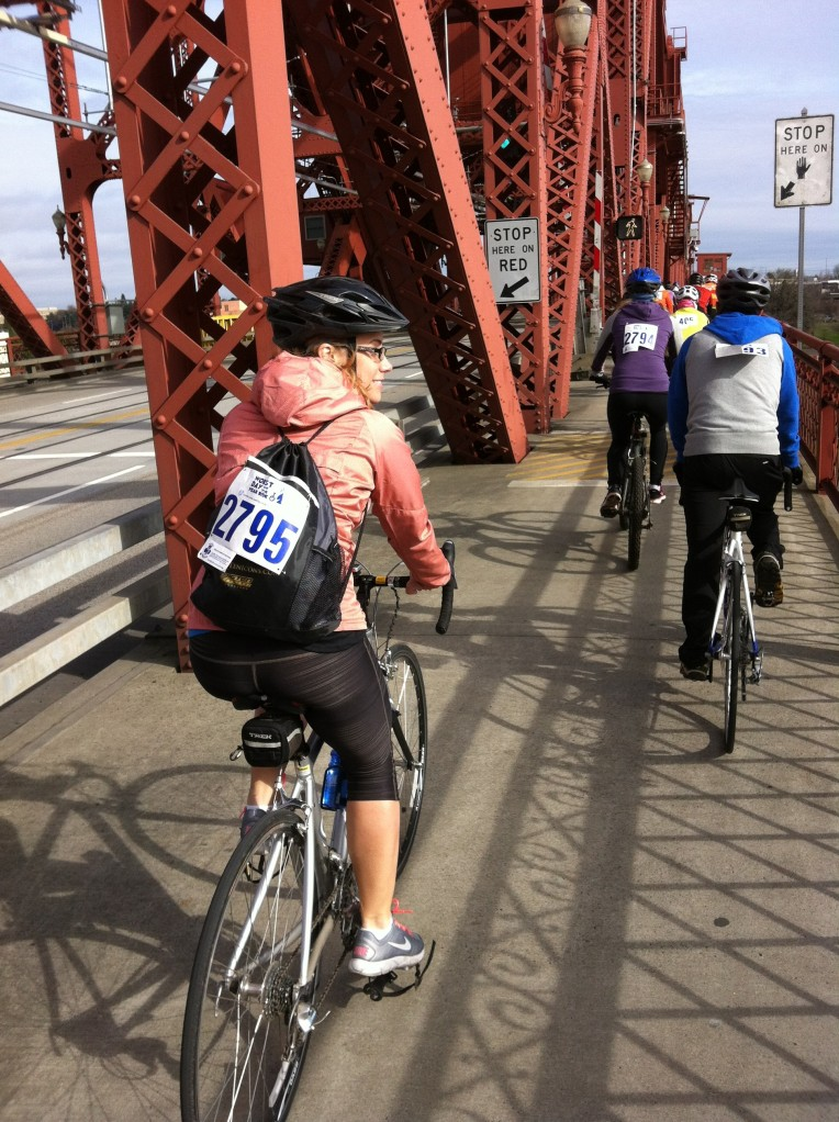 Pedaling over the Broadway Bridge
