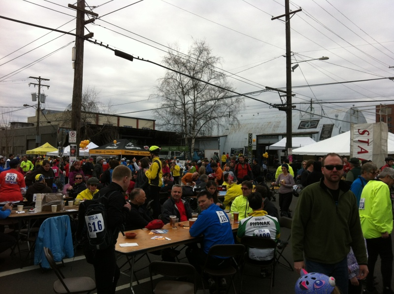 Success! Lunch at the race finish line