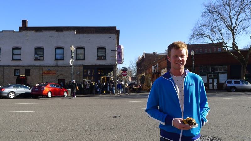Dave enjoying his Old Dirty Bastard outside Voodoo Doughnut (which has a line to get in, of course)